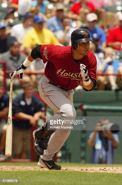Outfielder Carlos Beltran of the Houston Astros runs during the interleague game against the Texas Rangers at Ameriquest Field in Arlington on June...