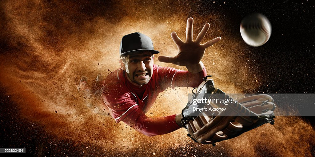 Outfielder Catching Baseball : Stock Photo