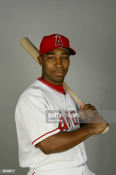 Outfielder Chone Figgins of the Anaheim Angels poses for a portrait during the 2004 MLB Spring Training Photo Day at Tempe Diablo Stadium on February...