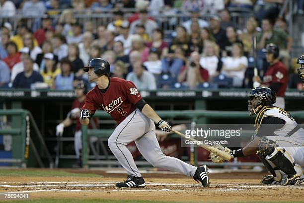 Outfielder Chris Burke of the Houston Astros bats against the Pittsburgh Pirates at PNC Park on July 21 2007 in Pittsburgh Pennsylvania The Pirates...