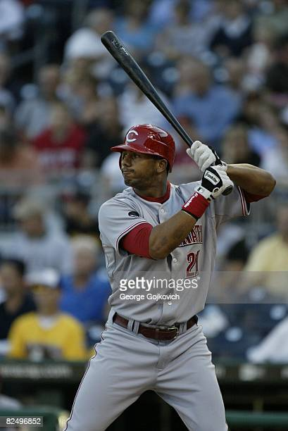 Outfielder Chris Dickerson of the Cincinnati Reds bats against the Pittsburgh Pirates at PNC Park on August 12 2008 in Pittsburgh Pennsylvania The...
