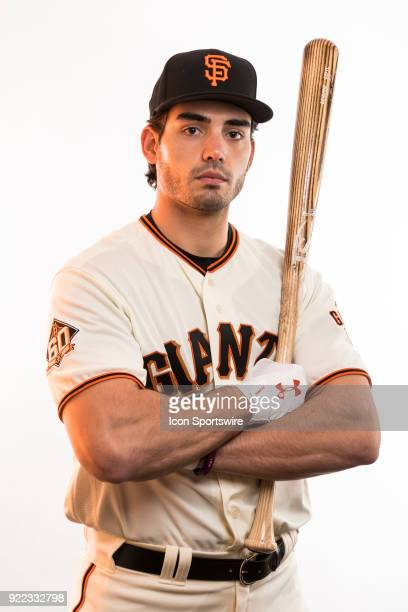 Outfielder Chris Shaw poses for a photo during the San Francisco Giants photo day on Tuesday Feb 20 2018 at Scottsdale Stadium in Scottsdale Ariz