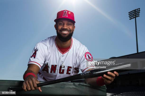 Outfielder Chris Young poses for a portrait during the Los Angeles Angels Photo Day on Feb 22 2018 at Tempe Diablo Stadium in Tempe Ariz