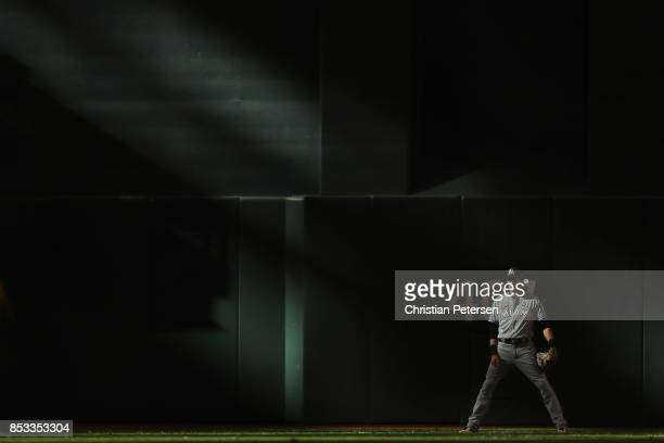 Outfielder Christian Yelich of the Miami Marlins in action during the ninth inning of the MLB game at Chase Field on September 24 2017 in Phoenix...