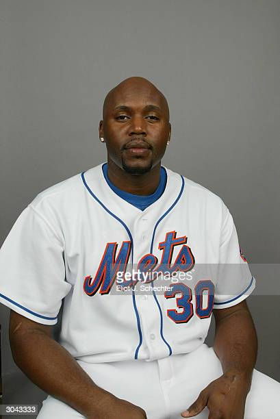 Outfielder Cliff Floyd of the New York Mets during Spring Training photo day February 29 2004 in Port St Lucie Florida