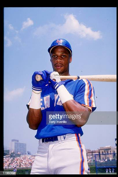 Outfielder Darryl Strawberry of the New York Mets in action during a game at Shea Stadium in Flushing New York Mandatory Credit Tony Inzerillo...