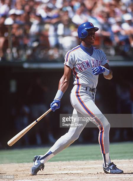 Outfielder Darryl Strawberry of the New York Mets makes contact with a pitch during the Mets versus San Francisco Giants game at Candlestick Park in...