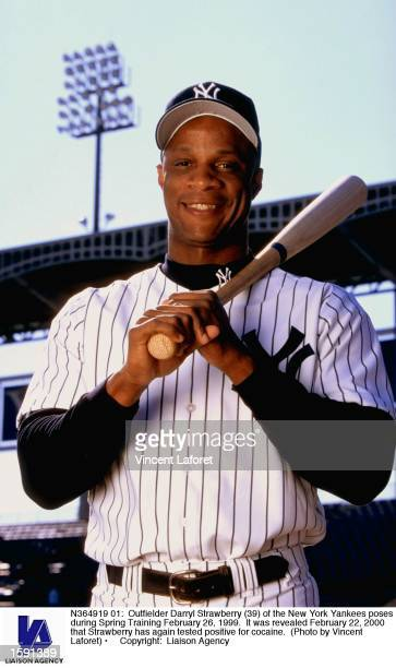 Outfielder Darryl Strawberry of the New York Yankees poses during Spring Training February 26 1999 It was revealed February 22 2000 that Strawberry...