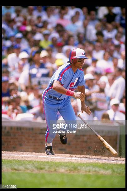 Outfielder Dave Martinez of the Montreal Expos drops his bat and prepares to run