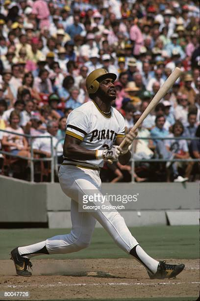 Outfielder Dave Parker of the Pittsburgh Pirates bats during a Major League Baseball game at Three Rivers Stadium in 1976 in Pittsburgh Pennsylvania