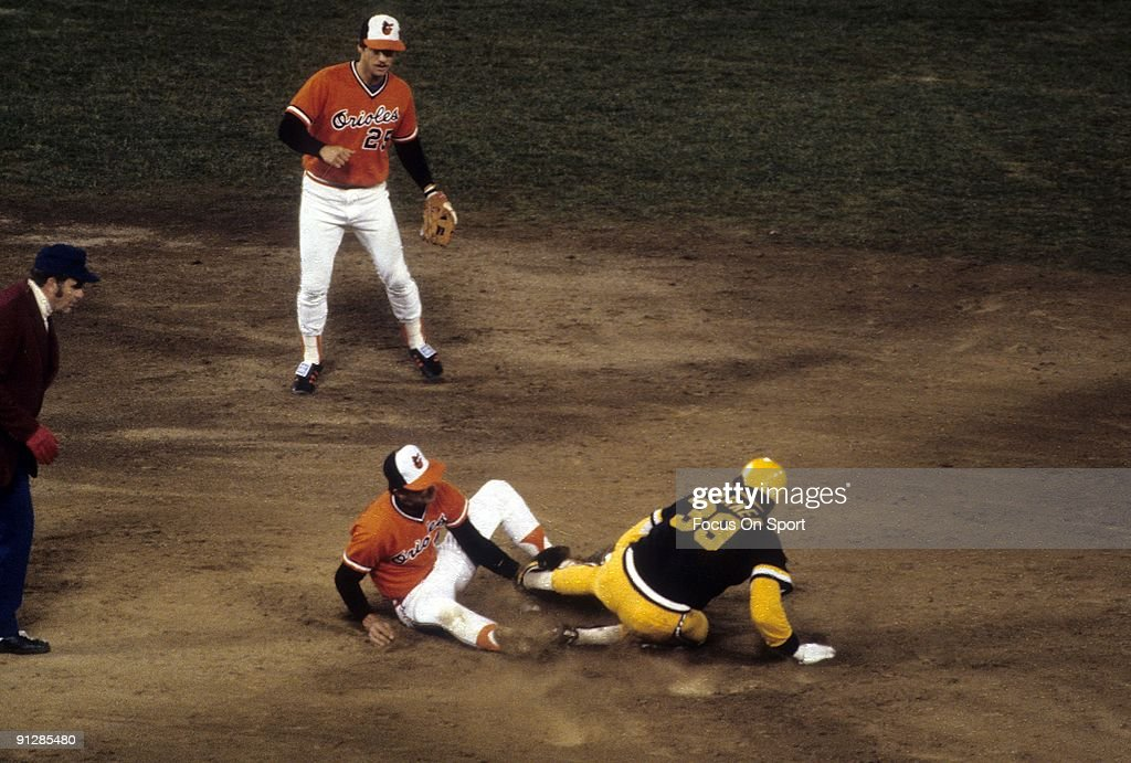 Outfielder Dave Parker #39 slides into second base with Baltimore Orioles shortstop Mark Belanger #7 covering during a 1979 world series game between the Pittsburgh Pirates and Baltimore Orioles at Memorial Stadium in Baltimore, Maryland. Parker played for the Pirates from 1973-83. The Pirates won the series 4 games to 3.