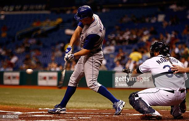 Outfielder David Murphy of the Texas Rangers fouls off a pitch against the Tampa Bay Rays during the game on May 27 2008 at Tropicana Field in St...