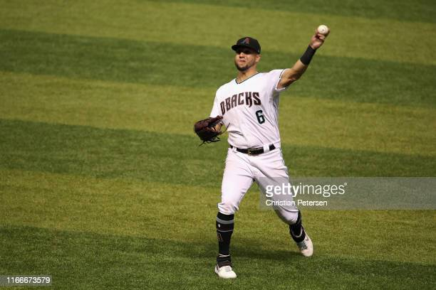 Outfielder David Peralta of the Arizona Diamondbacks throws the ball in during the MLB game against the Philadelphia Phillies at Chase Field on...