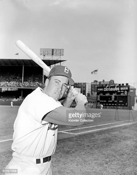 Outfielder Duke Snider of the Brooklyn Dodgers poses for an action portrait prior to a 1951 season game at Ebbets Field in Brooklyn New York Snider...