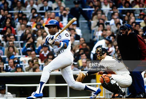 Outfielder Dusty Baker of the Los Angeles Dodgers bats against the New York Yankees during Major Leagues Baseball World Series October 1981 at Yankee...