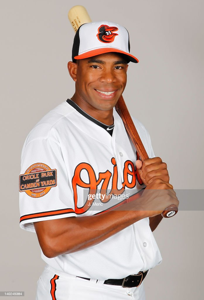 Outfielder Endy Chavez #9 of the Baltimore Orioles poses for a photo during photo day at Ed Smith Stadium on March 1, 2011 in Sarasota, Florida.