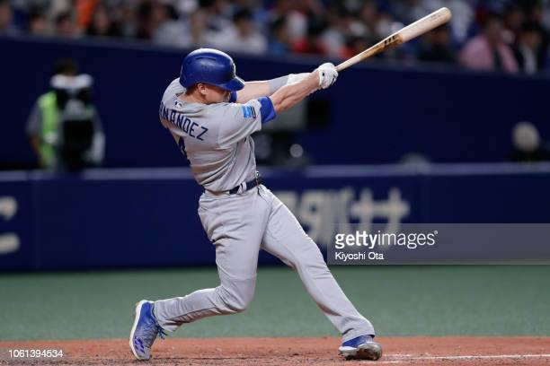 Outfielder Enrique Hernandez of the Los Angeles Dodgers singles in the top of 7th inning during the game five between Japan and MLB All Stars at...
