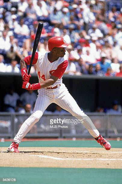 Outfielder Eric Davis of the Cincinnati Reds at bat during a game against the Florida Marlins on May 22 1996 at Cinergy Field in Cincinnati Ohio The...