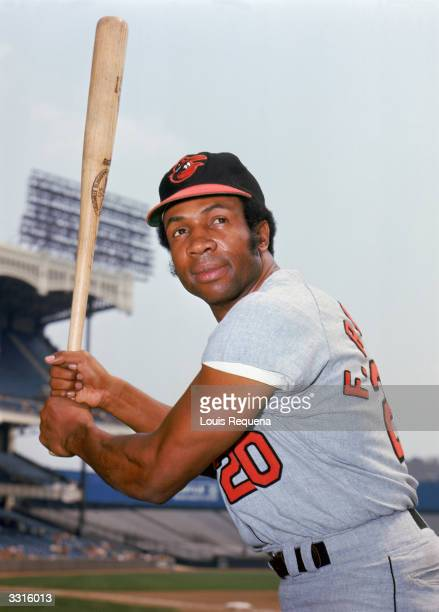 Outfielder Frank Robinson of the Baltimore Orioles poses for a portrait circa 1966-71 in Yankee Stadium in Bronx, New York.