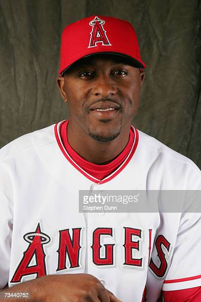 Outfielder Gary Matthews Jr #24 of the Los Angeles Angels of Anaheim poses during Photo Day on February 22 2007 at Tempe Diablo Stadium in Tempe...
