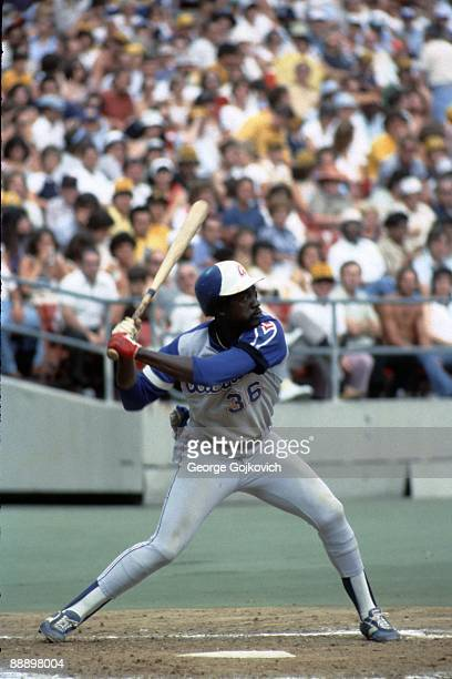 Outfielder Gary Matthews of the Atlanta Braves bats against the Pittsburgh Pirates during a Major League Baseball game at Three Rivers Stadium in...