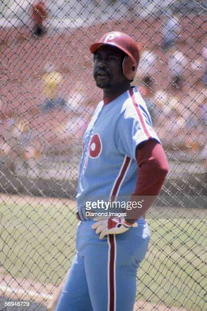 Outfielder Gary Matthews of the Philadelphia Phillies at the batting cage prior to a game in May 1981 against the San Diego Padres at Jack Murphy...