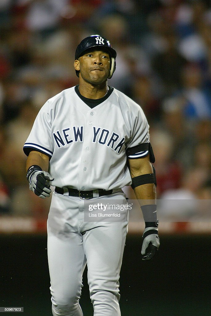 Outfielder Gary Sheffield #11 of the New York Yankees walks during the game against the Anaheim Angels at Angel Stadium on May 19, 2004 in Anaheim, California. The Yankees won 4-2.
