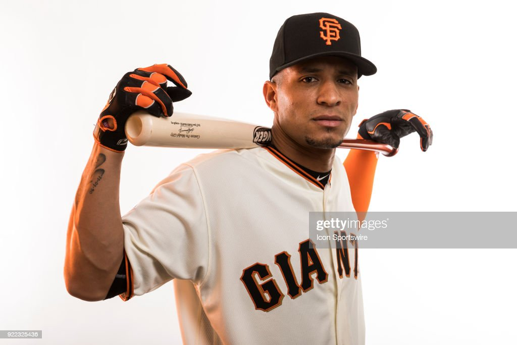 Outfielder Gorkys Hernandez (7) poses for a photo during the San Francisco Giants photo day on Tuesday, Feb. 20, 2018 at Scottsdale Stadium in Scottsdale, Ariz.