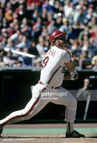 1970s: Outfielder Greg Luzinski of the Philadelphia Phillies swings and watches the flight of his ball during a circa mid 1970s Major League Baseball...