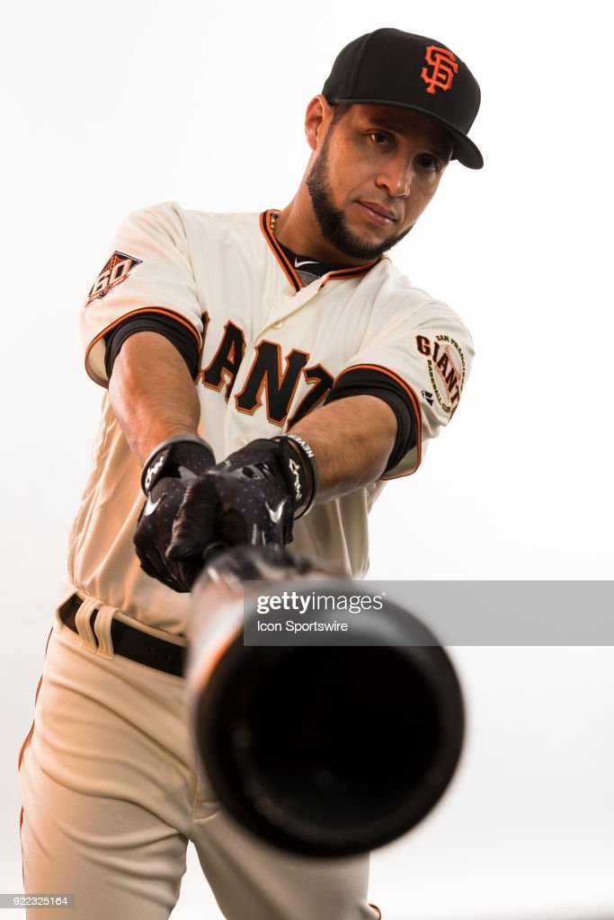 Outfielder Gregor Blanco (1) poses for a photo during the San Francisco Giants photo day on Tuesday, Feb. 20, 2018 at Scottsdale Stadium in Scottsdale, Ariz.