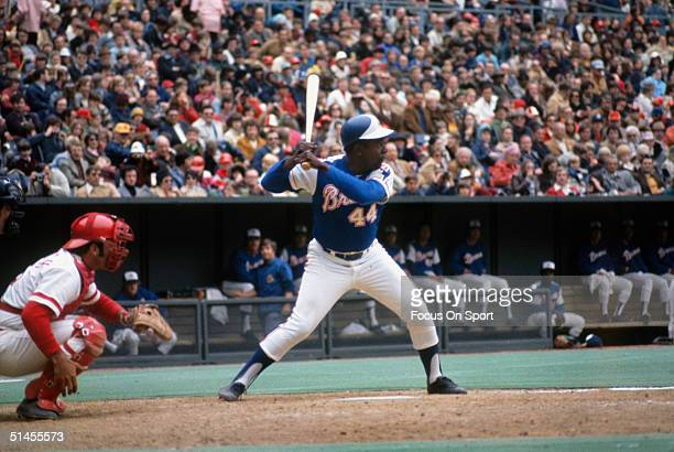 Outfielder Hank Aaron of the Atlanta Braves bats during a circa 1970s game against the Cincinnati Reds at Riverfront Stadium in Cincinnati Ohio