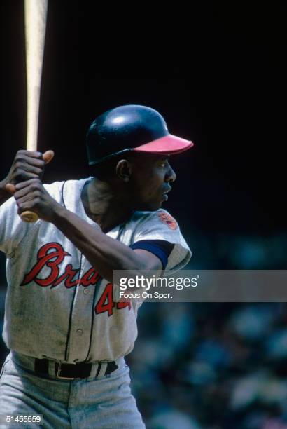 Outfielder Hank Aaron of the Atlanta Braves bats during a game, circa 1960s.