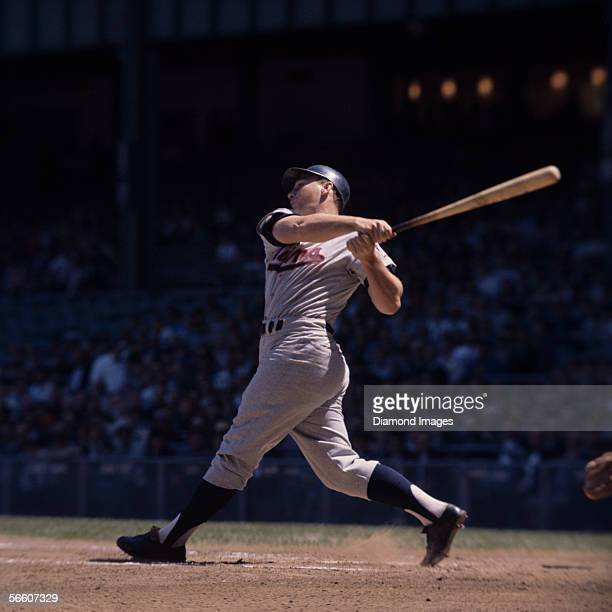 Outfielder Harmon Killebrew of the Minnesota Twins at bat during a game in 1964 against the New York Yankees at Yankee Stadium in New York New York