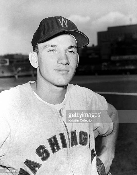Outfielder Harmon Killebrew of the Washington Nationals poses for a portrait prior to a game in 1955 against the New York Yankees at Yankee Stadium...