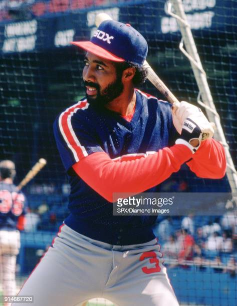 Outfielder Harold Baines of the Chicago White Sox in the batting cage prior to a game in 1986 against the Detroit Tigers at Tiger Stadium in Detroit...