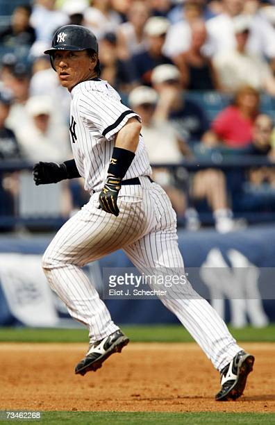 Outfielder Hideki Matsui of the New York Yankees rounds second base against the Minnesota Twins during a spring training game on March 1, 2007 at...