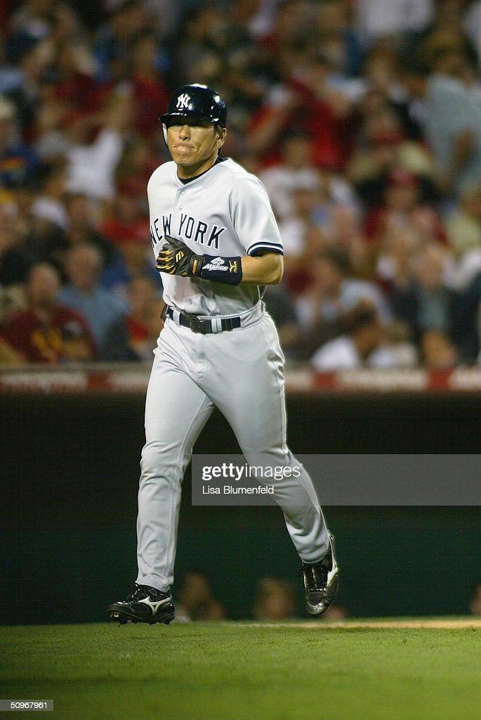 Outfielder Hideki Matsui #55 of the New York Yankees runs during the game against the Anaheim Angels at Angel Stadium on May 19, 2004 in Anaheim, California. The Yankees won 4-2.