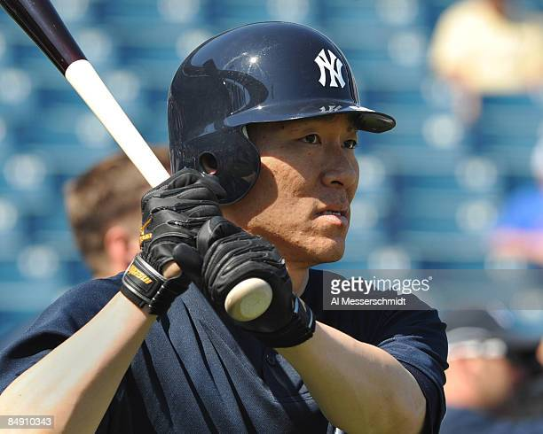 Outfielder Hideki Matsui of the New York Yankees takes batting practice February 18 2009 at the George Steinbrenner complex in Tampa Florida