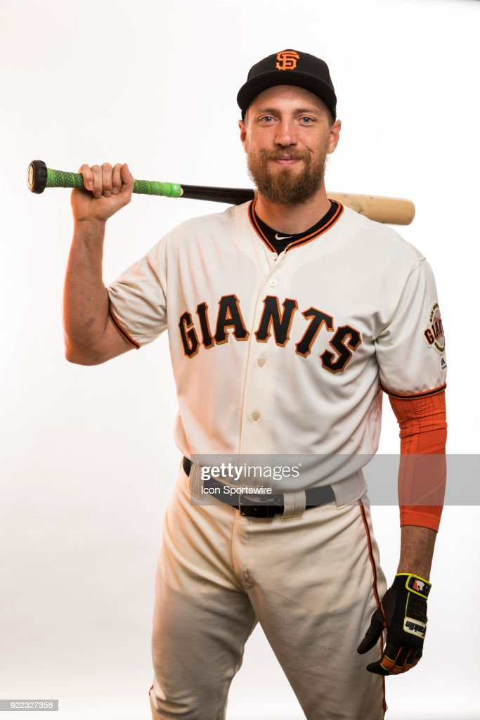 Outfielder Humnter Pence (8) poses for a photo during the San Francisco Giants photo day on Tuesday, Feb. 20, 2018 at Scottsdale Stadium in Scottsdale, Ariz.