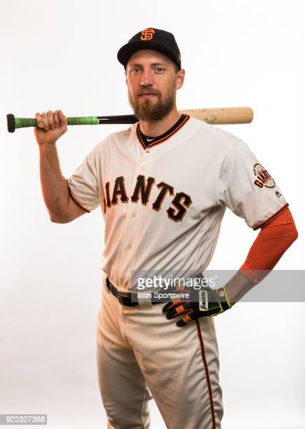 Outfielder Humnter Pence poses for a photo during the San Francisco Giants photo day on Tuesday Feb 20 2018 at Scottsdale Stadium in Scottsdale Ariz
