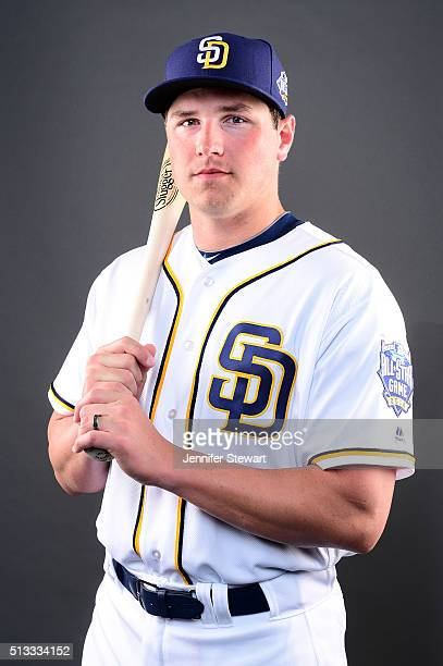 Outfielder Hunter Renfroe of the San Diego Padres poses for a portrait during spring training photo day at Peoria Sports Complex on February 26 2016...