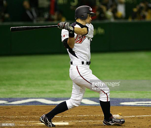 Outfielder Ichiro Suzuki of Japan hits grounder to the first base in the bottom of third inning during the World Baseball Classic Pool A Tokyo Round...