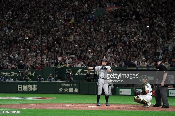 Outfielder Ichiro Suzuki of the Seattle Mariners at bat in the 2nd inning during the game between Seattle Mariners and Oakland Athletics at Tokyo...