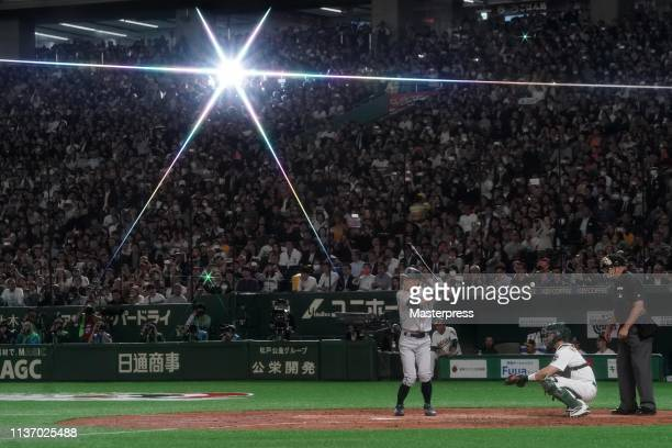Outfielder Ichiro Suzuki of the Seattle Mariners at bat in the 4th inning during the game between Seattle Mariners and Oakland Athletics at Tokyo...