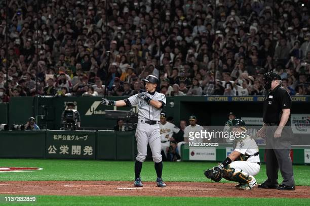 Outfielder Ichiro Suzuki of the Seattle Mariners at bat in the 7th inning during the game between Seattle Mariners and Oakland Athletics at Tokyo...