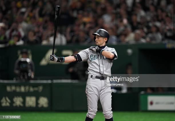 Outfielder Ichiro Suzuki of the Seattle Mariners at bat in the 8th inning last plate appearance during the game between Seattle Mariners and Oakland...