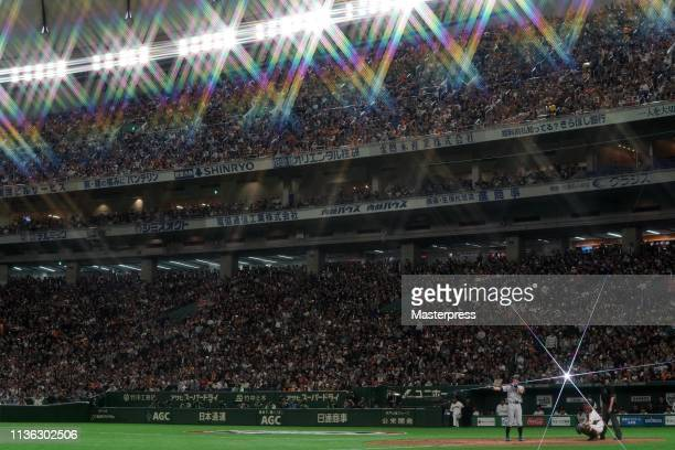 Outfielder Ichiro Suzuki of the Seattle Mariners at bat in the top of 6th inning during the game between the Yomiuri Giants and Seattle Mariners at...