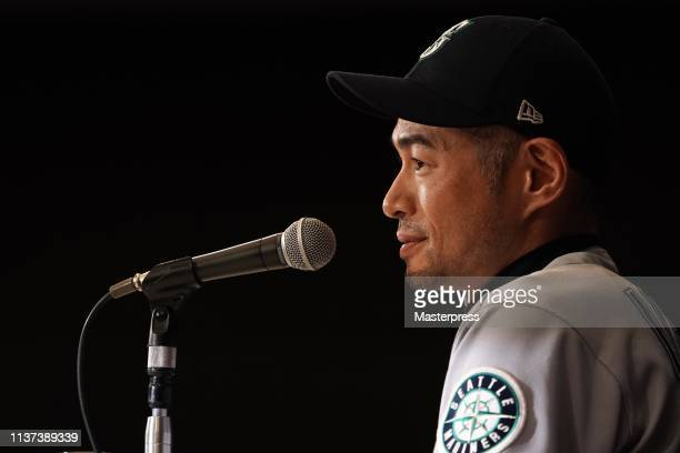 Outfielder Ichiro Suzuki of the Seattle Mariners attends his retirement press conference after the game between Seattle Mariners and Oakland...