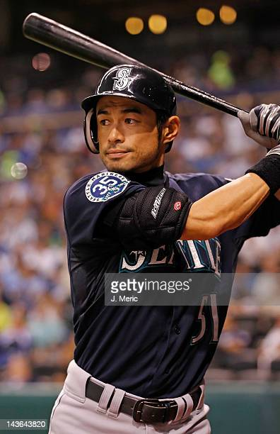 Outfielder Ichiro Suzuki of the Seattle Mariners bats against the Tampa Bay Rays during the game at Tropicana Field on May 1 2012 in St Petersburg...