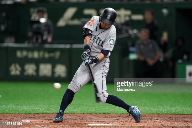 Outfielder Ichiro Suzuki of the Seattle Mariners grounds out in 4th inning during the game between Seattle Mariners and Oakland Athletics at Tokyo...